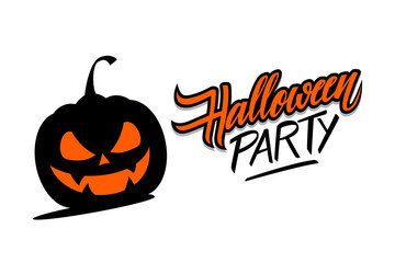 Halloween Party hand drawn lettering with scary pumpkin. Creative elements for holiday greetings, party invitations. Vector illustration.