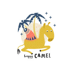 Cute camel and inscription