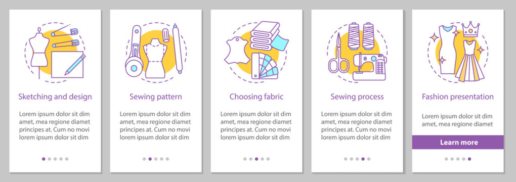 Dressmaking onboarding mobile app page screen with linear concep
