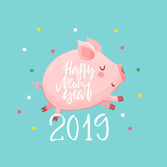 New Year background with text and pig