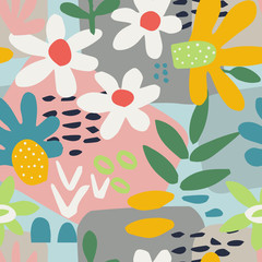 Abstract seamless background with flowers