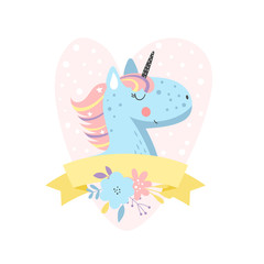 Background with cute cartoon unicorn
