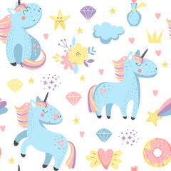 Seamless pattern with cartoon unicorns