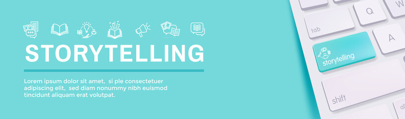 Storytelling Web Banner and Icon Set - Writing, speech bubbles, etc