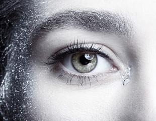 Female eye. Closeup beauty portrait of young woman face