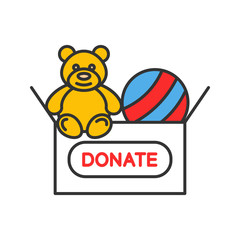 Toys donating color icon