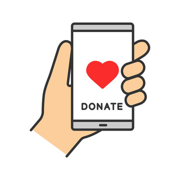 Smartphone donation app color icon