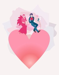 Young happy family having honeymoon. A loving couple flies on pink clouds over the earth in the shape of a heart. The sun in the form of a beautiful rose behind. The winged elf plays the lyre.