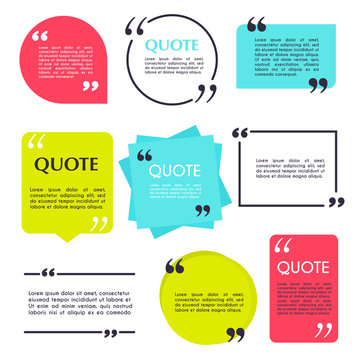 Quote blank template. Design elements, circle business card, paper sheet, information, text  for your design.