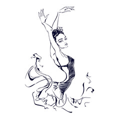 Ballerina. Dancer. Ballet. Carmen.  Graphics. Vector illustration.
