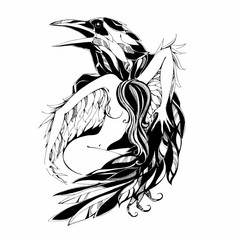 Raven and angel.Tattoo. Protector. Patron. Vector illustration.