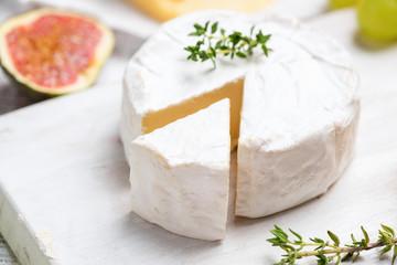 Brie or camembert cheese closeup. Selective focus