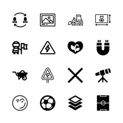 field icons set with happy, barrow and telescope vector set