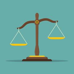 Justice scales icon. Law balance symbol. Libra in flat design. Vector illustration