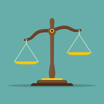 Justice scales icon. Law balance symbol. Libra in flat design. Vector illustration