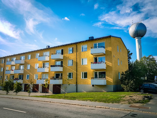 View of traditional city centre apartment block in Stockholm Sweden