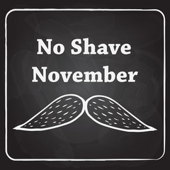 Vector poster for Prostate cancer awareness month annual initiative, white cartoon moustache and text No shave november. Chalk board imitation with white letters and moustache