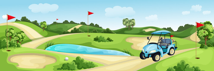 Foto auf Acrylglas Pool Golf course with green, water and sand bunker. Summer landscape vector cartoon illustration. Golf cart and flags on lawn