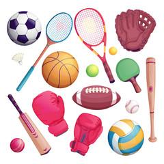 Sports equipment isolate objects. Vector cartoon illustration of football, soccer, tennis, cricket, baseball game