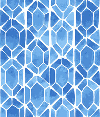Hand painted mosaic background with diamonds and triangles in blue. Stained glass imitation. Seamless vector geometric pattern