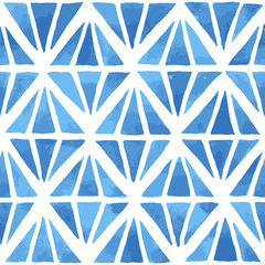 Hand painted geometric mosaic background with diamond shaped elements in blue. Seamless vector pattern