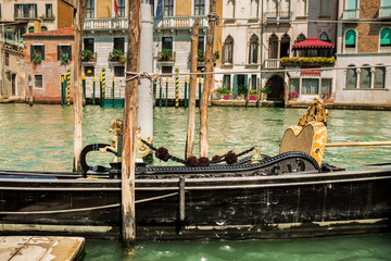 Italy, Venice (Venezia) gondola and colourful townhouses
