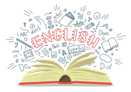 English. Open book with language hand drawn doodles and lettering on white background. Education vector illustration.