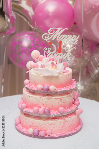 First Birthday Cake Beautiful For The Of Little Princess Decor On Inscription In Russian Mary 1 Year