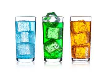 Glasses of energy carbonated soda drink with ice
