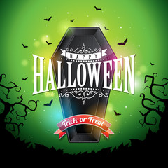 Happy Halloween banner illustration with flying bats and coffin on green night sky background. Vector Holiday design template with typography lettering for greeting card, flyer, celebration poster or