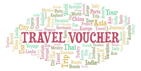 Travel Voucher word cloud.