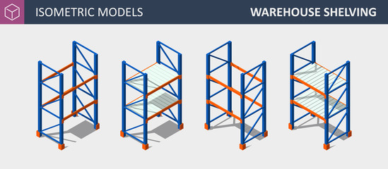Vector Isometric Set of Storage Shalving or Rack.