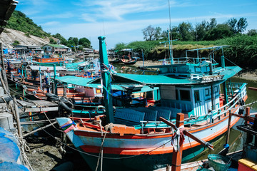 Colorful fishing boats at harbor in Hua Hin Prachuap Khiri Khan Province, Thailand