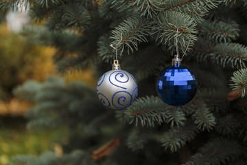 Crystal balls on a Christmas tree.