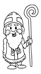 Sinterklaas pentekening - zwart wit inkt illustratie van Sint Nicolaas