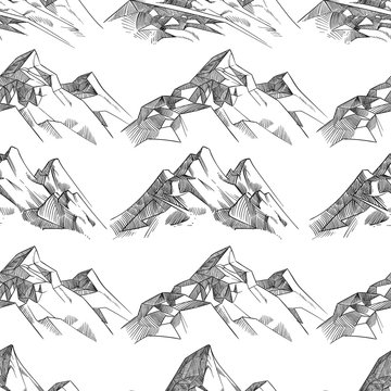 Pencil sketched mountains seamless pattern monochrome black background. Vector illustration