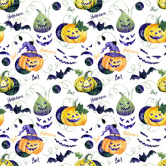 Watercolor seamless pattern with halloween pumpkins