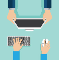 Concept of modern work place. Hands using high tech devices and showing reports. Vector illustration in flat style.