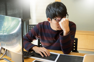 Young modern stressed programmer businessman a brake from working with laptop computer, Problem solving