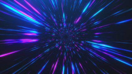 Abstract flight in retro neon hyper warp space in the tunnel 3d illustration Fototapete
