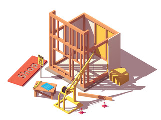 Vector isometric shop construction