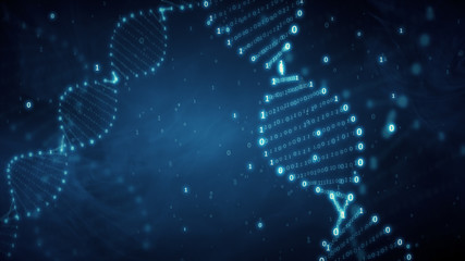 DNA from a binary code on a blue background with smoke 3d illustration