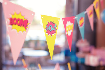 Cute flags. Adorable bright laconic party flags with funny signs placed in the room