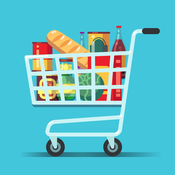 Full supermarket shopping cart. Shop trolley with food. Grocery store vector icon. Illustration of trolley and cart for supermarket, food from grocery market