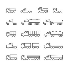 Truck line icons. Delivery trailers, cargo trukcs, dumpers and van. Transportation vector outline isolated symbols. Vehicle van, dumper lorry for cargo freight illustration