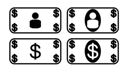 Dollar Money Note Icon Symbol.