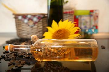 sunflower oil in a glass bottle