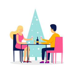 Couple sitting at the table celebrates New Year and Christmas. Vector illustration