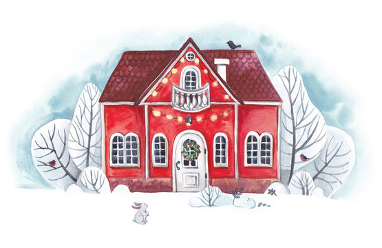 Red Christmas house among the snowy trees. Watercolor illustration.