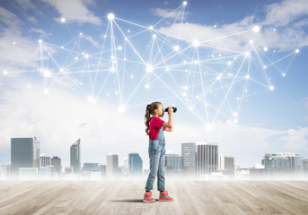 Concept of social wireless connection and internet use for communication by children